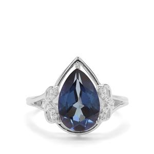 Hope Topaz & White Zircon Sterling Silver Ring ATGW 3.56cts
