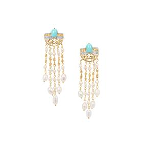 Sleeping Beauty Turquoise, White Topaz Earrings with Kaori Cultured Pearl in Gold Plated Sterling Silver 22.21cts