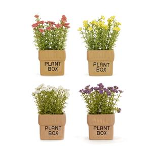 Ceramic Plant Box With Artificial Flowers  - .01=White / .02=Pink / .03=Yellow / .04=Purple