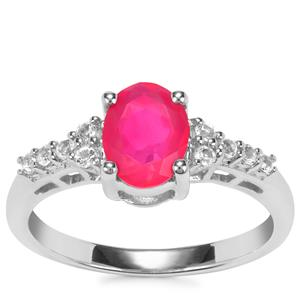 Pink Opal Ring with White Topaz in Sterling Silver 0.94ct