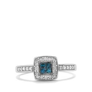 Blue Diamond Ring with White Diamond in 10K White Gold 0.35ct