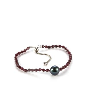 Tahitian Cultured Pearl & Garnet Sterling Silver Slider Bracelet (11mm)