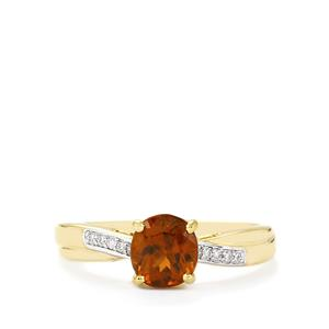 Color Change Bastnaesite Ring with Diamond in 14k Gold 2.09cts