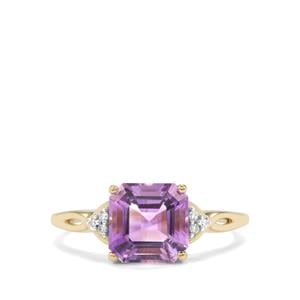 Moroccan Amethyst Ring with Diamond in 10k Gold 2.20cts