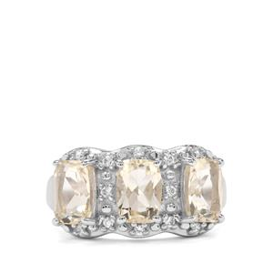 Serenite & White Zircon Sterling Silver Ring ATGW 2.78cts