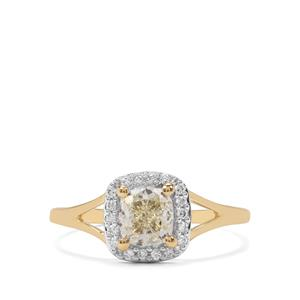 Natural Yellow Diamond Ring with White Diamond in 18K Gold 1.10cts
