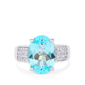 Sky Blue Topaz Ring with White Topaz in Sterling Silver 7.23cts