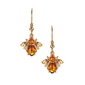 Baltic Cognac Amber Gold Tone Sterling Silver Bee Earrings