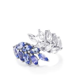 AA Tanzanite & White Topaz Sterling Silver Ring ATGW 2.78cts