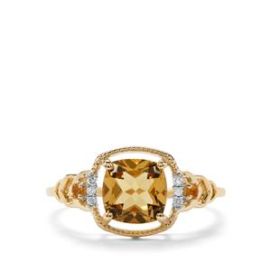 Mansa Beryl, Diamantina Citrine & Diamond 9K Gold Ring ATGW 1.40cts