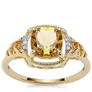 Mansa Beryl, Diamantina Citrine Ring with Diamond in 9K Gold 1.40cts