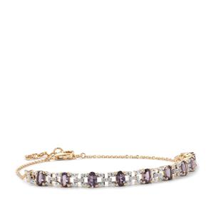 Mahenge Purple Spinel Bracelet with Diamond in 10k Gold 2.45cts