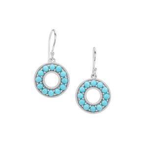 Sleeping Beauty Turquoise Earrings in Sterling Silver 2.50cts