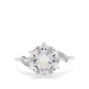 Wobito Snowflake Cut White Topaz & White Zircon 9K White Gold Ring ATGW 5.65cts