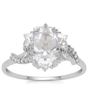Wobito Snowflake Cut White Topaz Ring with White Zircon in 9K White Gold 5.65cts