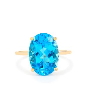 7.53ct Swiss Blue Topaz 10K Gold Ring