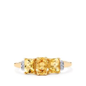 Ouro Preto Imperial Topaz & Diamond 9K Gold Ring ATGW 1.44cts