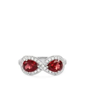 Rhodolite Garnet Ring with White Topaz in Rhodium Flash Sterling Silver 1.67cts