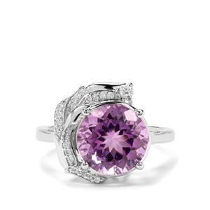 Bahia Amethyst & White Zircon Sterling Silver Ring ATGW 4.13cts