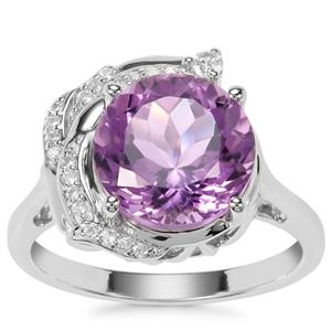 Bahia Amethyst Ring with White Zircon in Sterling Silver 4.13cts