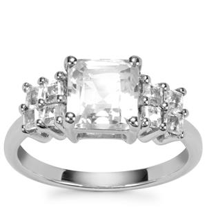Asscher Cut White Topaz Ring in Sterling Silver 3.07cts