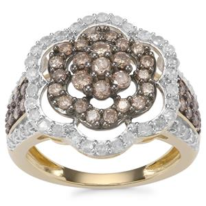 Champagne Diamond Ring with White Diamond in 10K Gold 1.45ct