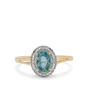Ratanakiri Blue Zircon Ring with Diamond in 9K Gold 1.05cts