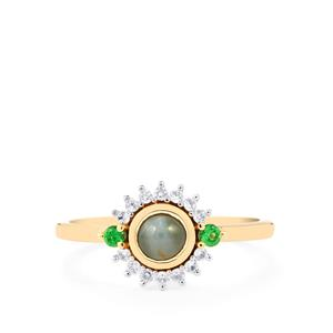 Cats Eye Alexandrite, Tsavorite Garnet & White Zircon 10K Gold Ring ATGW 0.75cts