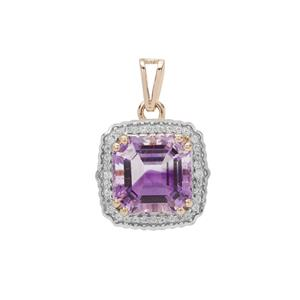 Asscher Cut Moroccan Amethyst Pendant with White Zircon in 9K Gold 4.35cts