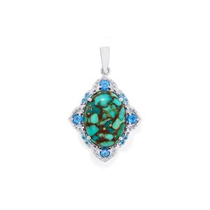 Egyptian Turquoise Pendant with Liberty Blue Topaz in Sterling Silver 8.70cts
