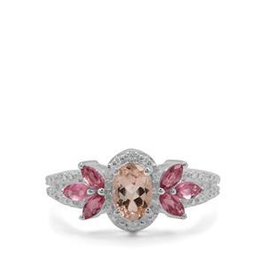Zambezia Morganite, Oyo Pink Tourmaline & White Zircon Sterling Silver Ring ATGW 1.21cts