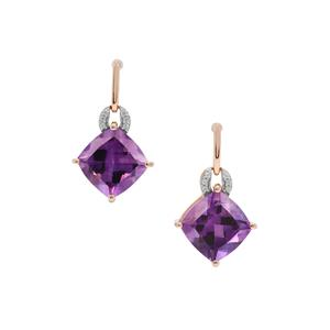 Moroccan Amethyst Earrings with White Zircon in 9K Gold 7.76cts