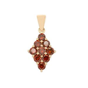 Cognac Diamond Pendant in 9K Gold 1.50cts