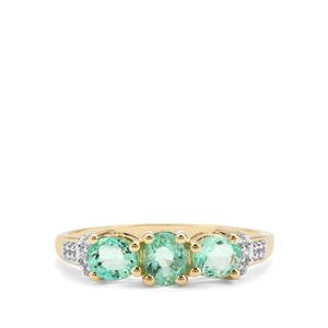 Colombian Emerald & White Zircon 9K Gold Ring ATGW 1.07cts