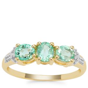 Colombian Emerald Ring with White Zircon in 9K Gold 1.07cts