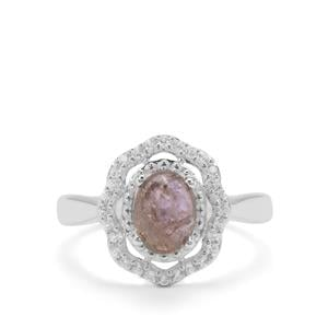 Natural Unheated Tanzanite Ring with White Zircon in Sterling Silver 2.2cts