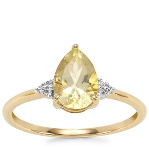 Chartreuse Sanidine Ring with White Zircon in 10K Gold 1.15cts