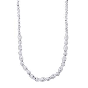 "18"" Moon Cut Graduate Bead/Ball Necklace in Sterling Silver 20.48g"