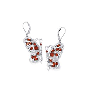 Mozambique Garnet Papillon Earrings with White Zircon in Sterling Silver 3.09cts