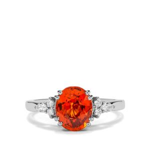 Tangerine Garnet Ring with Diamond in Platinum 950 3.28cts