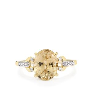 Champagne Danburite & Diamond 10K Gold Ring ATGW 2.37cts