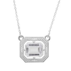 Optic Quartz & White Zircon Sterling Necklace ATGW 5cts