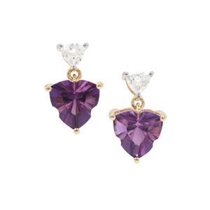 Lehrer Infinity Cut Ametista Amethyst & White Zircon 9K Gold Earrings ATGW 3.72cts