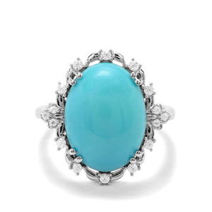 Sleeping Beauty Turquoise & White Zircon Sterling Silver Ring ATGW 7.66cts