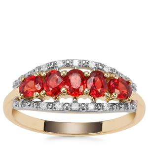 Winza Ruby Ring with Diamond in 9K Gold 1.20cts