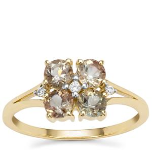 Peacock Parti Oregon Sunstone Ring with White Zircon in 9K Gold 1.05cts