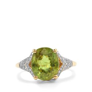 Ambilobe Sphene & Diamond 18K Gold Lorique Ring MTGW 5.06cts