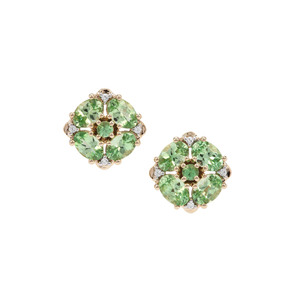 D Cut Tsavorite Garnet & White Zircon 9K Gold Earrings ATGW 3.93cts