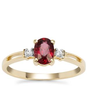 Malawi Garnet Ring with White Zircon in 9K Gold 1.02cts