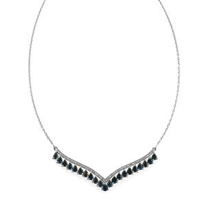 Australian Blue Sapphire & White Zircon Platinum Plated Sterling Silver Necklace ATGW 6.15cts